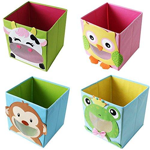 *TE-Trend 4 Stück Textil Faltbox Spielbox Tiermotive Frosch AFFE Eule Kuh Aufbewahrung Truhe für Spielzeug faltbar 28 x 28 x 28 cm*