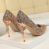 Xue Qiqi Leder Silber Spitze des high-heel Schuhe fein mit Farbverlauf einzelne Schuhe weiblichen goldenen Hochzeit Schuhe, 39, Champagner Farbe