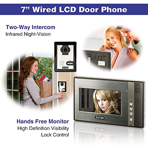 "Generic 7"" inch Color LCD Video Door Phone Doorbell Home Entry Intercom System 1 Monitor 2 Camera Night Vision 702"