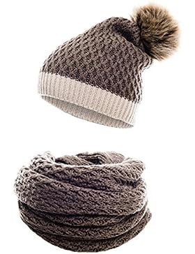 Conjunto de invierno compuesto por bufanda de invierno y gorro de punto a juego / beanie con pompón