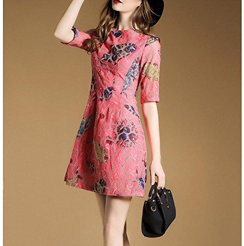 Frauen - Kleid Im Europäischen Und Amerikanischen Frauen Um Den Hals Ärmel Gedruckten Kleid Slim (Kleid Cinderella Adult)