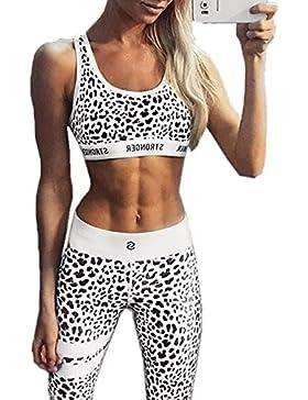 Verano Yoga Mujer de Jogging Deportiva Conjunto de Sports Yoga Camisetas Tanque Impresion Tops Bustier y Apretado...
