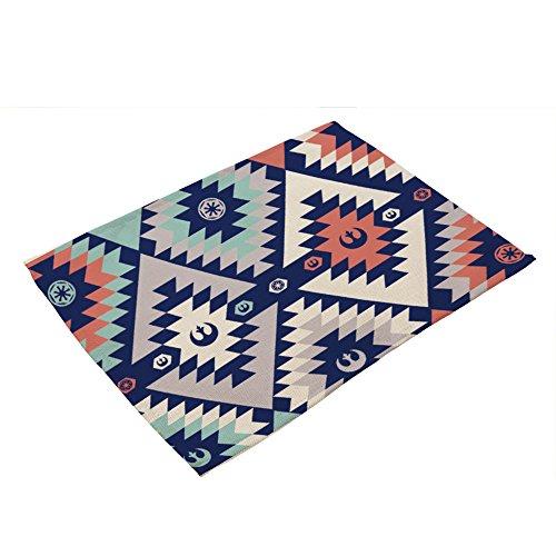 HJHET Motif de losange géométrique simple épaississement coton lin isolation tissu tapis de table, Coaster coussin 28*44cm