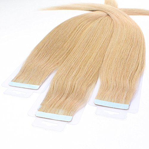 Just beautiful hair 10 x 2.5g remy extension biadesive capelli veri - 40cm, colore #18 biondo chiaro dorato, liscio
