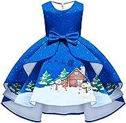 IMEKIS Vestido de Navidad para niñas con estampado de Navidad, reno de muñeco de nieve, disfraz de cosplay de