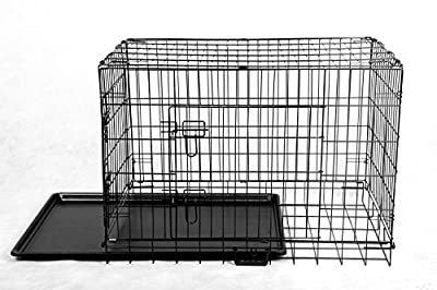 """FoxHunter 30"""" 30 Inch Pet Dog Puppy Cat Training Cage Crate Carrier Metal Folding Two Door Tray Medium Black from KMS"""