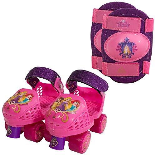 PlayWheels Disney Princess Glitter Kids Roller Skates with Knee Pads - Junior Size 6-12 by PlayWheels -