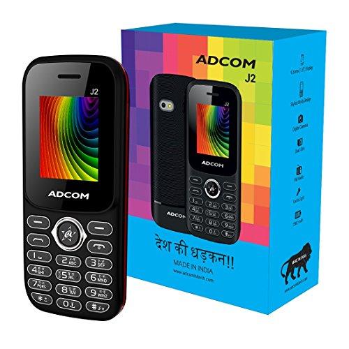 Adcom J2 Dual Sim Mobile Phone (1.8 inch Display, 1500 mAh Battery, Black/Red)