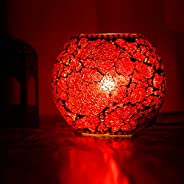 iHandiKart Handmade Multicolor Decorative Table lamp (IHK25010) with Unique Design and Crackle Work On lamp Us