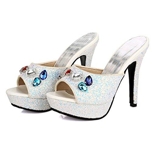 AIYOUMEI Damen Peep Toe High Heels Plateau Pantoletten mit Strass Bequem Modern Pailletten Sandalen Schuhe Weiß