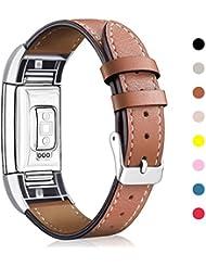 Mornex Bracelet pour Fitbit Charge 2 en Cuir,Bande de Remplacement Réglable Sangle Rechange avec Métal Connecteurs Accessoires pour Fitbit Charge 2