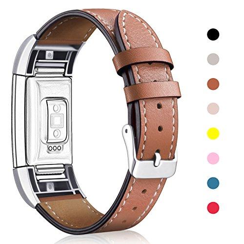 """Für Fitbit Charge 2 Armband, Mornex echtes Leder-Armbänder, Unisex-Ersatzband mit Metall Konnektoren(5,5""""-8,1"""") Braun"""