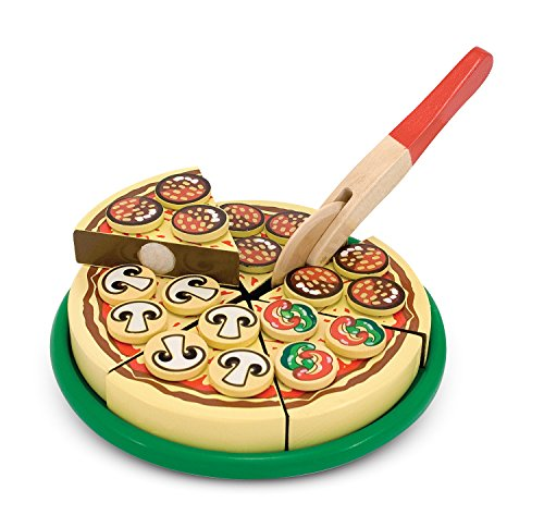 Melissa & Doug Pizza Party Wooden Play Food Set With 54 Toppings