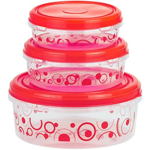DecorRack 3 Frischhaltedosen, 5,8 Tassen, 10 Tassen, 22,5 Tassen, BPA-frei, lebensmittelecht, strapazierfähig, für Mahlzeiten geeignet, runde große Lebensmittelbehälter mit Deckel rot