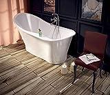 Freistehende Badewanne aus Mineralguss 165 x 76,8 x 80,1 cm weiss Design UNO