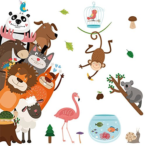YUANWEN Nordische Wind Tier Kindergarten Klassenzimmer Cartoon Tür Aufkleber, Big