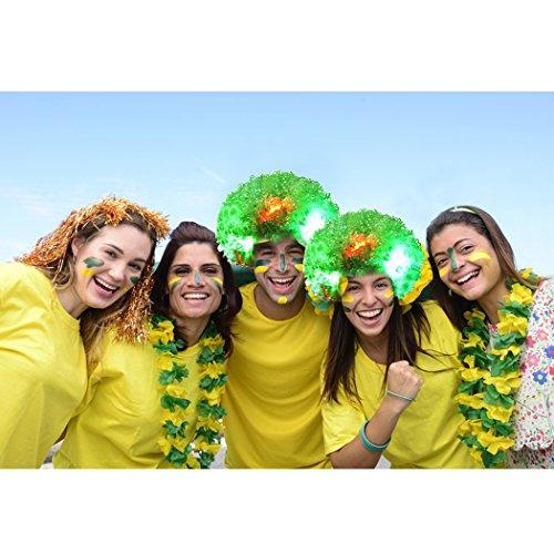 Clown Perücke, Funpa LED Clown Perücke Afro Curly Perücke LED Perücke mit Blinkenden Farbigen Lichtern Halloween Cosplay Kostüm Haar Zubehör für Kinder Erwachsene