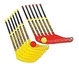 Fun-Hockey Schläger-Set: 12 Schlägern (6 x rot und 6 x gelb) und 12 Turnierbäll