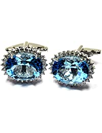 Jewel Place 925 Solid Sterling Silver Natural Faceted Blue Topaz & CZ Gemstone Men's Cufflinks