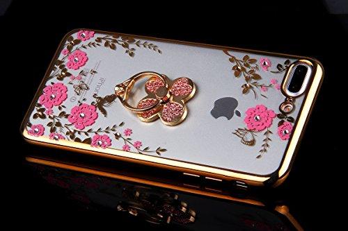 Coque pour iPhone 7 Plus/8 Plus,iPhone 7 Plus Or Rose Coque en Silicone Clair Ultra-Mince Etui Housse avec Bling Diamant,iPhone 7 Plus Placage Coque Bling Bling Glitter Sparkle Diamond Silicone Case R Or trèfle-Fleurs Roses