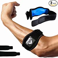 2-Pack Tennis Elbow Brace with Compression Pad by PlayActive Sports - Best Tennis & Golfer's Elbow Strap Band – Relieves Tendonitis and Forearm Pain - Includes Two Elbow Support Braces and E-Guide