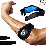 2-Pack Tennis Elbow Brace with Compression Pad by PlayActive Sports - Best Tennis