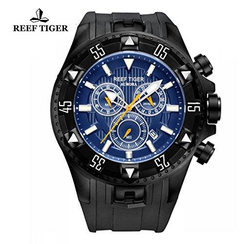 Reef Tiger uomo sport orologio al quarzo cronografo data acciaio nero custodia blu quadrante luminoso RGA303