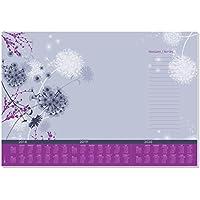 Sigel HO400 Vade, bloc de notas, diseño flores violetas, calendarios trianuales, 59,5 x 41 cm, violeta y morado, 30 hojas
