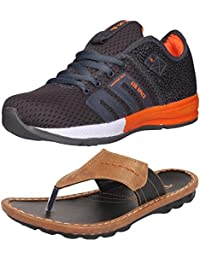 Ethics Perfect Combo Pack Of Orange Sports Shoes & Black Slippers For Men's