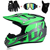PKFG® AO-340 Full face Motocross Helm, Adult Helm Sport Adventure Enduro Motorradhelme Motocross Schutzhelm Unisex MTB Schutz Sicherheit Helm mit Handschuhe Maske Brille,L56~57CM