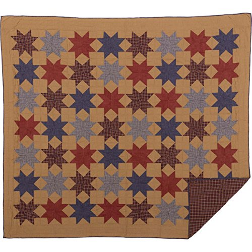 VHC Brands Classic Country Primitive Bedding-Kindred Star Tan Quilt, King - Tan King