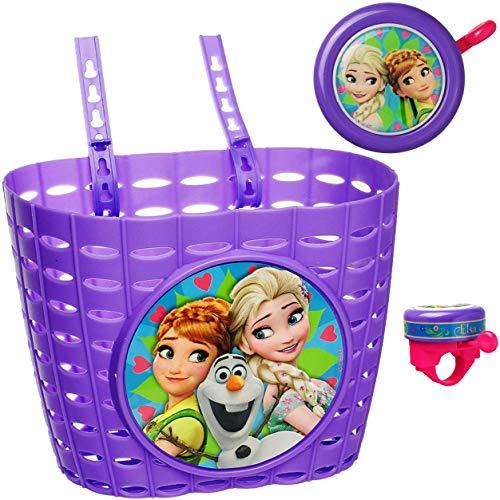 alles-meine.de GmbH 2 TLG. Set: Fahrradklingel + Fahrradkorb / Korb -  Disney Frozen - die Eiskönigin  - mit Befestigung für Lenker vorn - Klingel / Fahrrad Kinder - Mädchen / ..