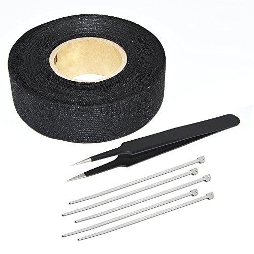 FOSHIO Draht Webstuhl Harness Band 19mm Breite und 15meter Länge,Hoch Temperatur Beständig Isolierend Tape mit Pinzette und Wire Straps
