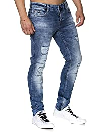 Tazzio 16525 Jean slim aspect usé stretch denim pour homme -  bleu - 29 W/32 L