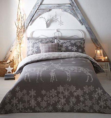 Natale inverno renna fiocchi di neve grigio misto cotone doppio (tinta unita grigio argenteo lenzuolo sottoteso - 137 x 191cm + 25) 4 pezzi set da letto