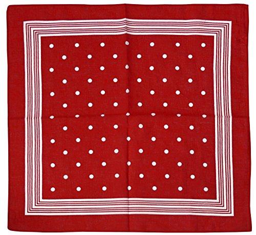 Harrys-Collection Bandana Bindetuch 100% Baumwolle 1 er 6 er oder 12 er Pack!, Farbe:Punkte rot