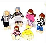 URGrace 6PCS / Set Mini-hölzerne Familien-Puppe stellte Kind-Kind-Spielwaren EIN Puppenhaus-Figuren gekleidete Charaktere pädagogische vorgeben Spiel-Spielwaren-Geburtstags-Geschenk