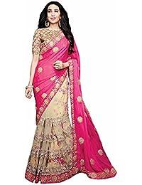 Zofey Women's Net Saree With Blouse Piece (Apsarapink-Sarees)