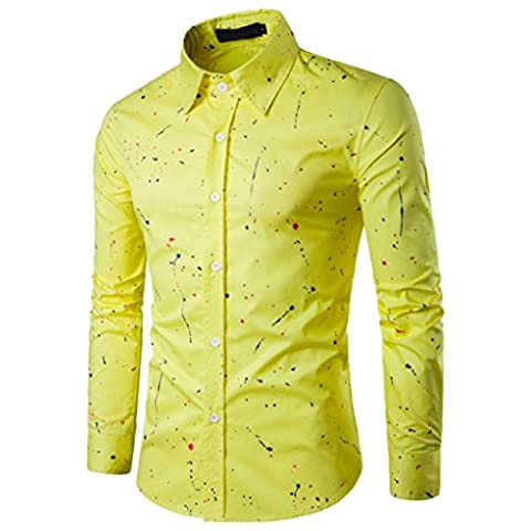Herren Hemd Longra Männer Casual Langarm Shirt Business Slim Fit Shirt Bedruckte Hemd Blusen (L, Yellow)