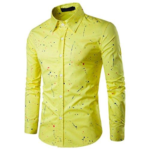 Herren Hemd Longra Männer Casual Langarm Shirt Business Slim Fit Shirt  Bedruckte Hemd Blusen Yellow