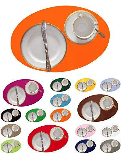 Bordeaux-kaffee-tisch-set (DIE NÄHZWERGE Filz-Tischset oval - ca. 42x28cm, in 17 Farben, als Einzelstück und im Set | 3mm Polyester-Textilfilz, waschbar. Handarbeit. (orange, 2))
