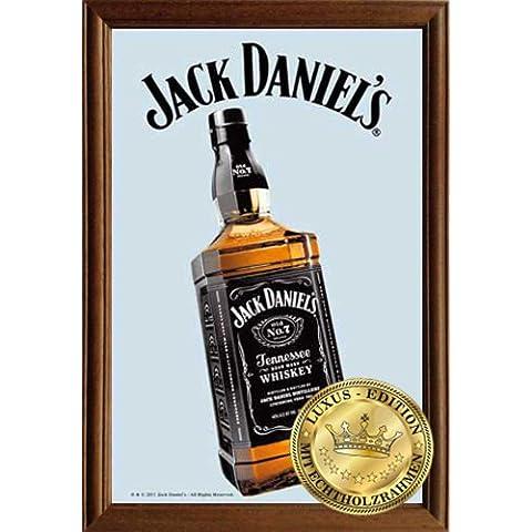 Empire Merchandising 610775Jack Daniels Bottiglia 2, specchio con cornice in legno, 22x 32x 1,2cm