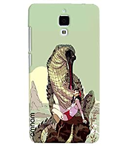 Omnam Dianasours Playing With Girl Printed Back Cover Case For Xiomi 4