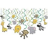 Konsait Salvaje Selva Animal Colgar Decoraciones de Remolino Adornos de espirales para Infantiles Niños Regalo Fiestas de Cumpleaños Suministros Decoración hogar Techo (30Piezas)