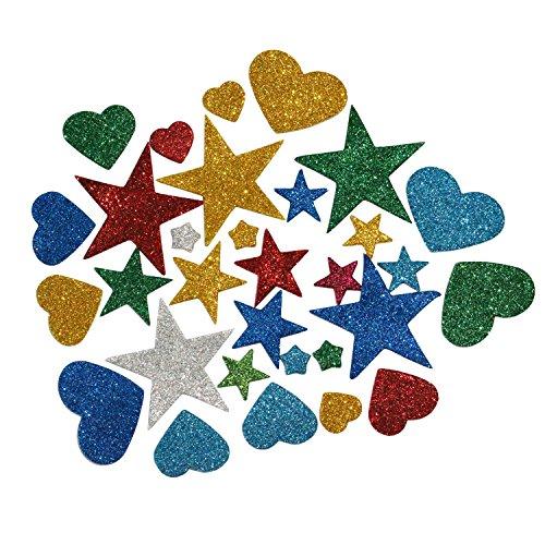 ljy-150-pezzi-di-adesivi-di-lucido-di-schiuma-assortiti-colori-e-misure-stelle-e-a-forma-di-cuore