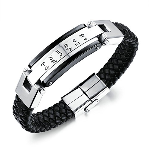 Beydodo Edelstahl Charm Armbänder für Herren Geflochten Lederarmband 12 Sternbild Schwarz 21x1.3CM