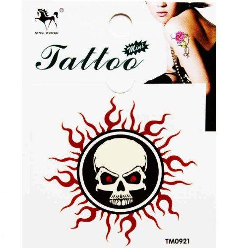 Autocollant de tatouage imperméable à l'eau couleur totem soleil squelette