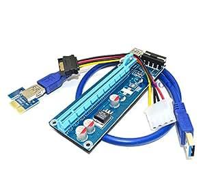 ITHOO USB 3.0 PCI-E Express 1x zu 16x Extender Riser Card Adapter Power Kable Mining
