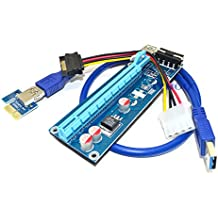 ITHOO USB 3.0 PCI-E Express 1x zu 16x Extender Riser Card Adapter Power Kable Mining