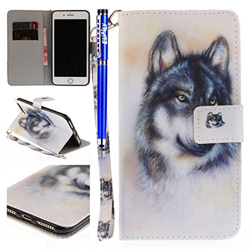 EUWLY Fashion Colorato Dipinto Protettiva Portafoglio Custodia in PU Pelle per iPhone 7 Plus/iPhone 8 Plus (5.5),Bello Animale Lanyard Wallet Case con Magnetica Chiusura Flip Funzione in PU Leather P Lupo